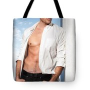 Young Man In Unbuttoned Shirt Tote Bag
