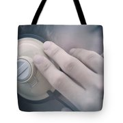 Young Man Listening To Music Headphones Tote Bag