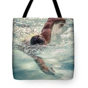 Young Man Swimming Tote Bag