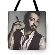 Young Man With Cigar Tote Bag