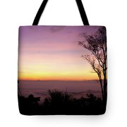 Young Men Silhouette Taking Photos About Landscape Outdoor  Tote Bag