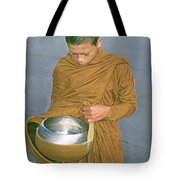 Young Monk Begging Alms And Rice, Thailand Tote Bag