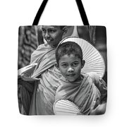 Young Monks 2 Bw Tote Bag