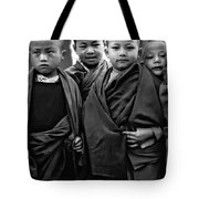 Young Monks II Bw Tote Bag