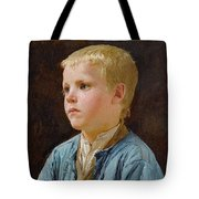 Young Mother Contemplating Her Sleeping Child In Candlelight - Albert Anker Tote Bag