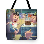 Young Pig Birthday Party Tote Bag by Martin Davey
