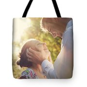 Young Romantic Couple Flirting In Sunshine Tote Bag
