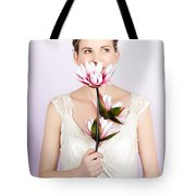 Young Romantic Woman With Lotus Flowers Tote Bag