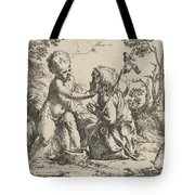 Young Saint John The Baptist Kneeling Before The Infant Christ Tote Bag
