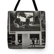 Young Woman And Outdoor Television Display Tote Bag