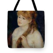 Young Woman Braiding Her Hair Tote Bag by Pierre Auguste Renoir
