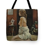 Young Woman Dressed In Male Shirt Tote Bag
