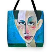 Young Woman Green Field Tote Bag