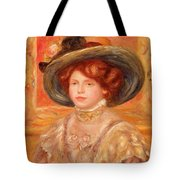 Young Woman In A Blue Hat Tote Bag by Pierre Auguste Renoir