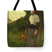 Young Woman In A Garden Of Oranges Tote Bag