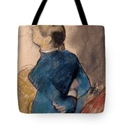 Young Woman In Blue Tote Bag