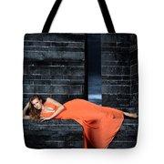 Young Woman In Long Orange Dress Tote Bag