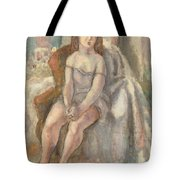 Young Woman In White Chemise Tote Bag