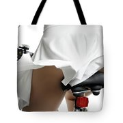 Young Woman On A Bicycle Tote Bag