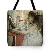 Young Woman Powdering Her Face Tote Bag