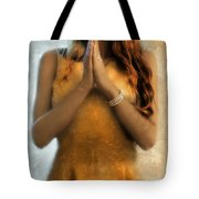 Young Woman Praying Tote Bag