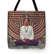 Young Woman Sitting And Meditating In A Lotus Position In Front Of A Unique Doors Tote Bag