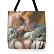 Young Woman Taking A Foot Bath Tote Bag