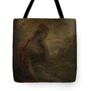 Young Woman Under A Tree At Sunset Tote Bag