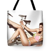 Young Woman Wearing A Swimsuit Tote Bag