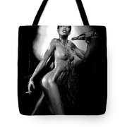 Young Woman With Champagne Tote Bag
