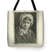 Young Woman With Hat And Curly Hair Tote Bag