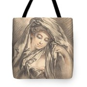 Young Woman With Her Head Covered Tote Bag