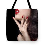 Young Woman With Red Lipstick Sensual Closeup Of Mouth Tote Bag