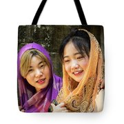 Young Women Silk Scarves 01 Tote Bag