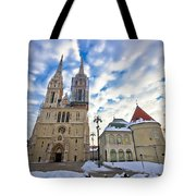 Zagreb Cathedral Winter Daytime View Tote Bag