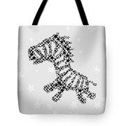 Zebra Black Star Tote Bag