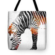 Zebra Black White And Red Orange By Sharon Cummings  Tote Bag