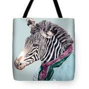 Zebra Blue Tote Bag
