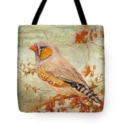 Zebra Finch Among Almond Trees Tote Bag by Angeles M Pomata