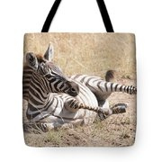 Zebra Foal Rolls In Dust On Savannah Tote Bag