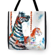 Zebra Gets A Ride The Ocean City Boardwalk Carousel Tote Bag