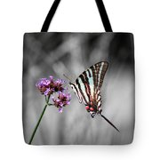 Zebra Swallowtail Butterfly And Stripes Tote Bag