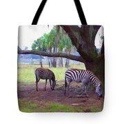 Zebras Under Oaks Tote Bag