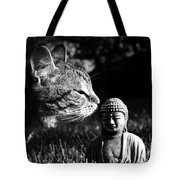 Zen Cat Black And White- Photography By Linda Woods Tote Bag
