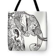 Zentangle Elephant Tote Bag by Becky Herrera