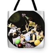 Ziegfeld Model  By Alfred Cheney Johnston  Pierrot Serenading Three Beautiful Sexy Women Tote Bag