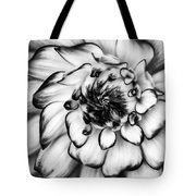 Zinnia Close Up In Black And White Tote Bag