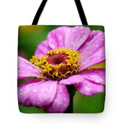 Zinnia In The Rain Tote Bag