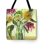 Zinnias In Vase Tote Bag
