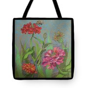 Zinnias With Bee Tote Bag